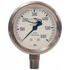 "2-1/2"" face 1/4"" LM Liquid Filled Gauge 0-600 PSI"