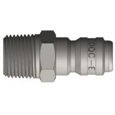 "DQC 3/8"" x 3/8"" MNPT Steel E-Series Straight Through Nipple"