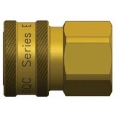 """DQC Straight Thru 3/8"""" X 3/8"""" FNPT Brass E-Series Coupler"""