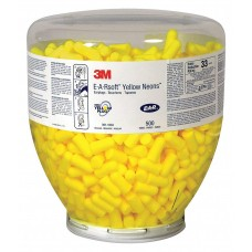 3M E-A-Rsoft Yellow Neons One Touch Refill Earplugs Uncorded, Regular Size 500/Carton (Can use with 391-0000 Dispenser)