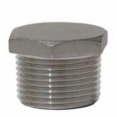 """1/4"""" T304 Stainless Steel Hex Head Plug 150# Threaded"""