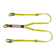6' Red/Yellow Double Lanyard Shock Absorbing w/Small Tie Back