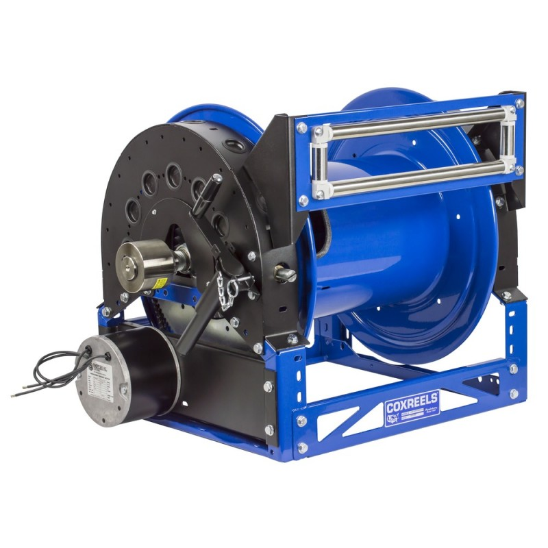 Coxreels 1680-1328-E 12V DC Motorized Hybrid Frame Hose Reel 1-1/2inx100ft (1)