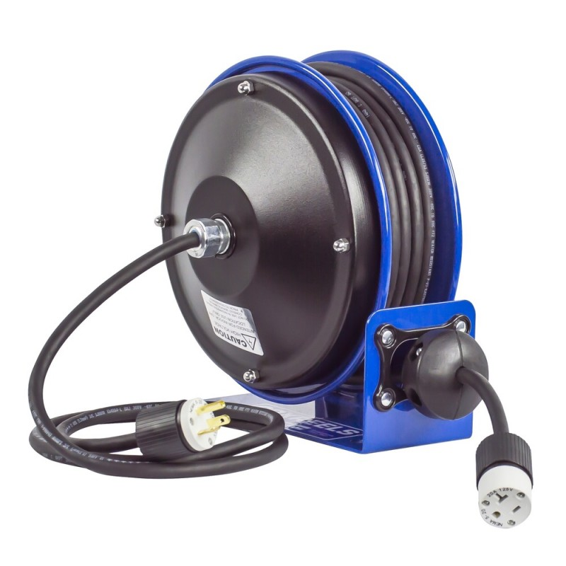 Coxreels PC10-3012-A Compact Spring Driven Cord Reel Single Receptacle 12GAx30ft