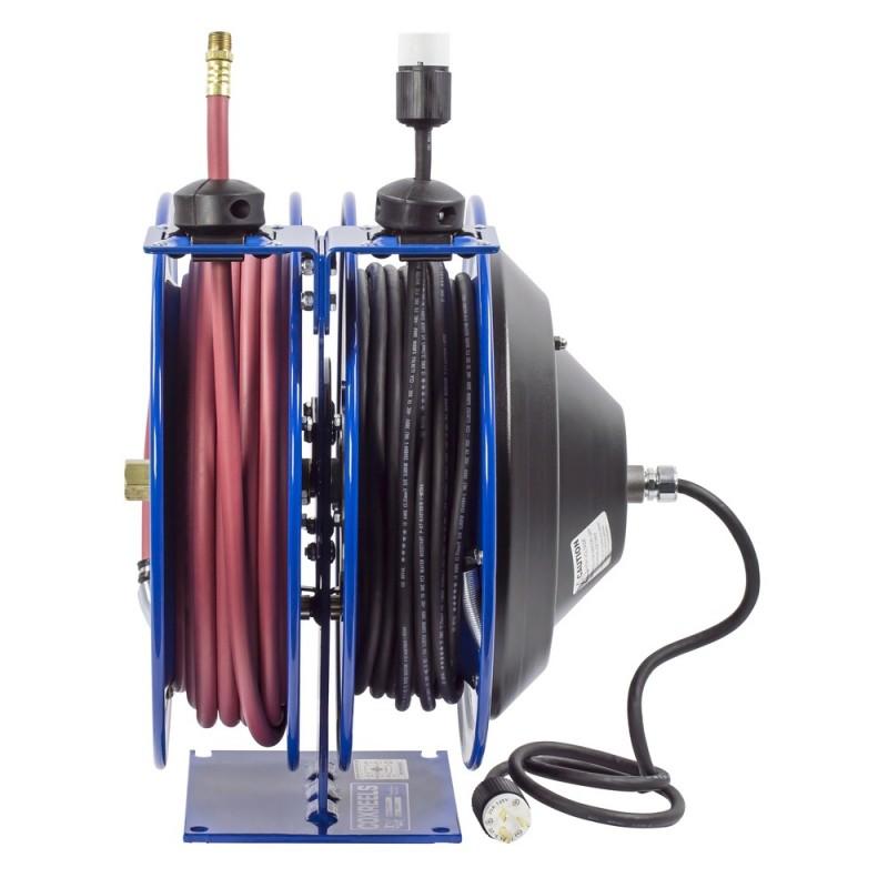 Coxreels C-L350-5012-A Dual Purpose Spring Rewind Reels 3/8inx50ft - 12AWGx50ft (1)
