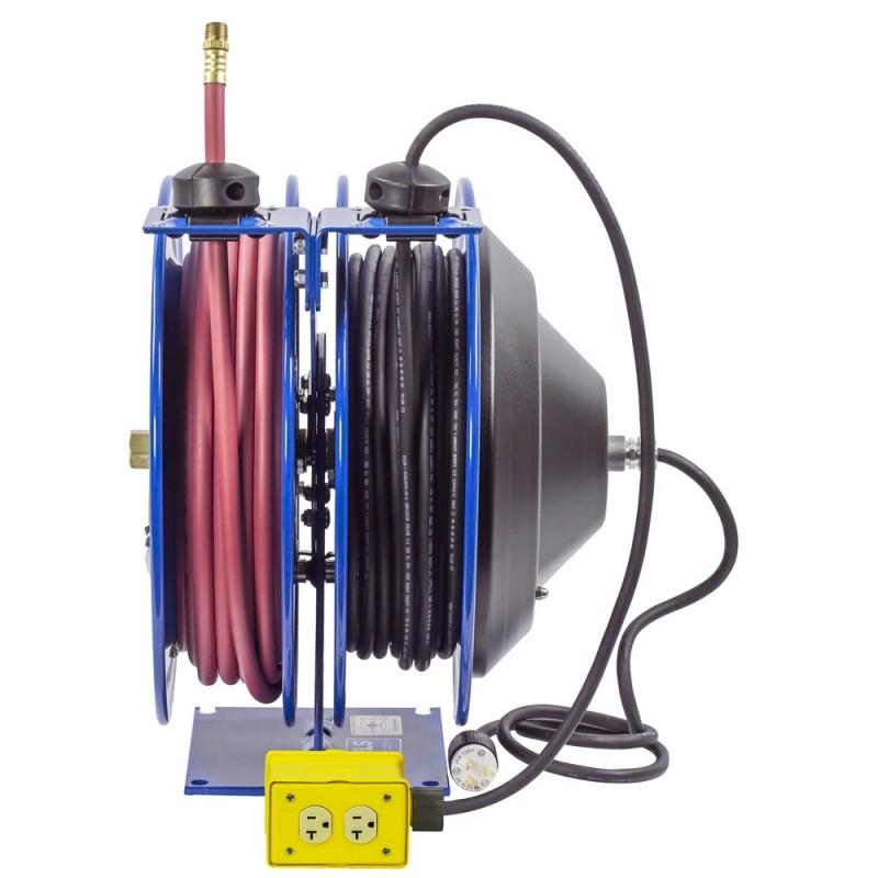 Coxreels C-L350-5012-B Dual Purpose Spring Rewind Reels 3/8inx50ft 300PSI; Quad Receptacle 50ft cord 12 AWG (1)