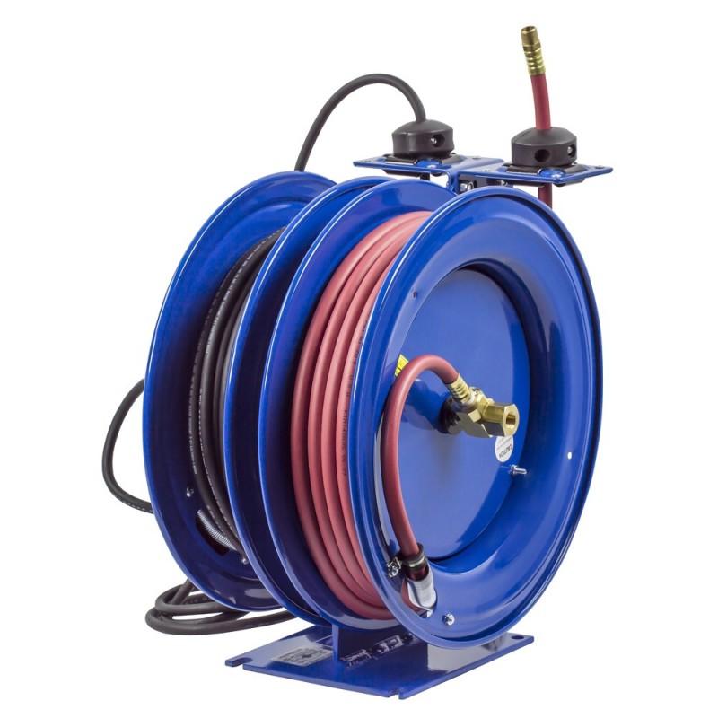 Coxreels C-L350-5012-B Dual Purpose Spring Rewind Reels 3/8inx50ft 300PSI; Quad Receptacle 50ft cord 12 AWG (3)