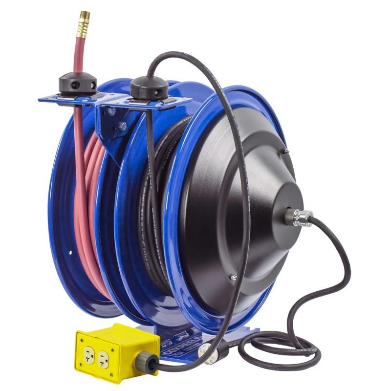 Coxreels C-L350-5012-B Dual Purpose Spring Rewind Reels 3/8inx50ft 300PSI; Quad Receptacle 50ft cord 12 AWG (4)