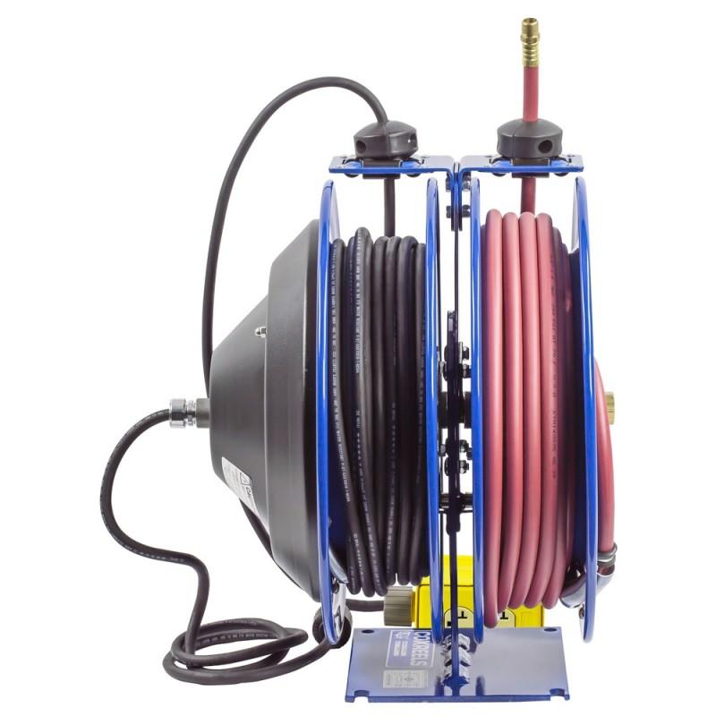 Coxreels C-L350-5012-B Dual Purpose Spring Rewind Reels 3/8inx50ft 300PSI; Quad Receptacle 50ft cord 12 AWG (5)