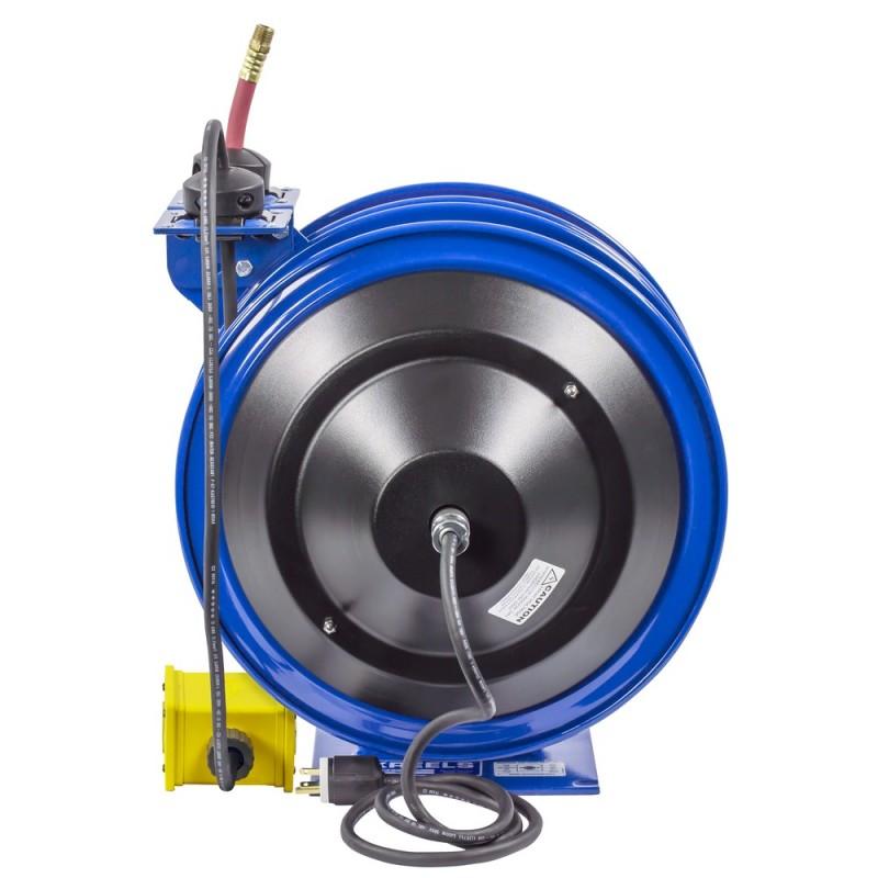 Coxreels C-L350-5012-B Dual Purpose Spring Rewind Reels 3/8inx50ft 300PSI; Quad Receptacle 50ft cord 12 AWG (6)