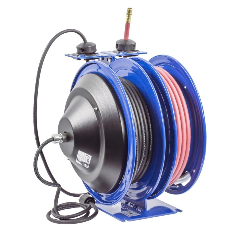 Coxreels C-L350-5012-B Dual Purpose Spring Rewind Reels 3/8inx50ft 300PSI; Quad Receptacle 50ft cord 12 AWG (7)