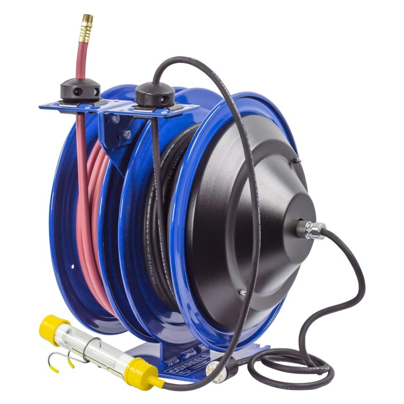 Coxreels C-L350-5016-C Dual Purpose Spring Rewind Reels 3/8inx50ft 300PSI; Fluorescent Tube Light 50ft cord 16 AWG (4)