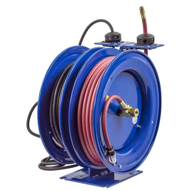 Coxreels C-L350-5016-D Dual Purpose Spring Rewind Reels 3/8inx50ft 300PSI; Fluorescent Angle Light 50ft cord 16 AWG (3)