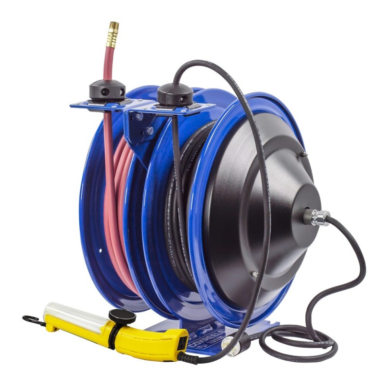 Coxreels C-L350-5016-D Dual Purpose Spring Rewind Reels 3/8inx50ft 300PSI; Fluorescent Angle Light 50ft cord 16 AWG (4)