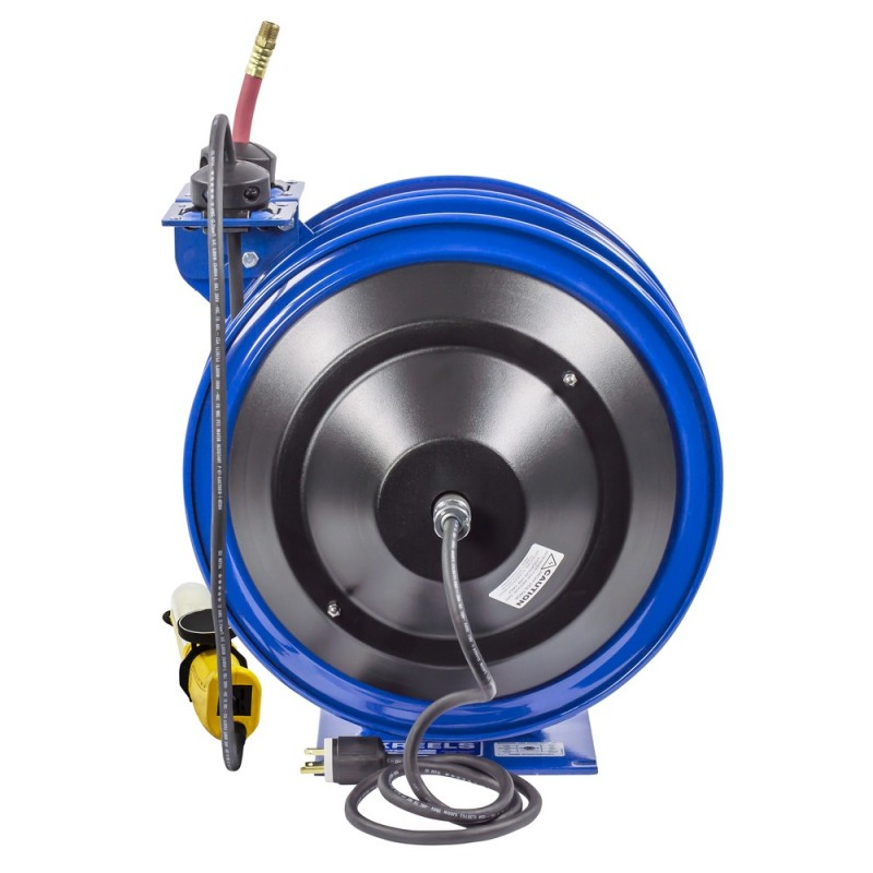 Coxreels C-L350-5016-D Dual Purpose Spring Rewind Reels 3/8inx50ft 300PSI; Fluorescent Angle Light 50ft cord 16 AWG (6)