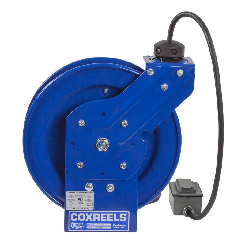 Coxreels PC13-5012-F Spring Driven Cord Reel Duplex Industrial Rec 12GAx50ft (2)